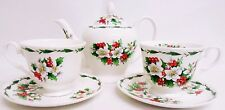 Christmas Rose Tea Set for Two Bone China Xmas Roses 1 Teapot 2 Cups 2 Saucers