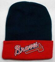 READ LISTING! Atlanta Braves HEAT Applied Flat Logo on Beanie Knit Cap hat