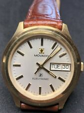 Vintage Movado Zenith Electronic Watch Gold Wristwatch Tuning Fork f300 Calendar