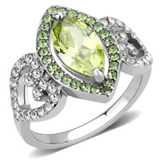 3579   SIMULATED DIAMOND STAINLESS STEEL WOMENS RING APPLE GREEN MARQUISE PERIDO