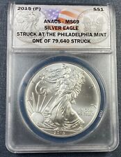 2015 (P) Silver Eagle  ANACS MS69  **Emergency Issue**