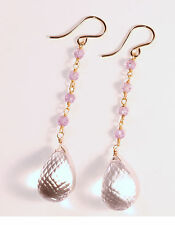 Light Lavender Cubic Zirconia Quartz Dangle Earrings 14k gf Gold French Hook
