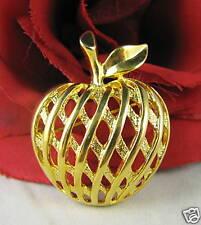 Vintage Gold tone Basket Weave Apple Pin CAT RESCUE