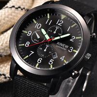 Mode Herren Militär Quarzuhr Date Edelstahl Nylon Luxus Sport Uhr Armbanduhren_z
