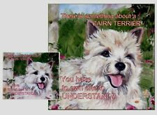 CAIRN TERRIER DOG HARDBOARD PLAQUE and LENS CLEANING CLOTH SANDRA COEN ARTIST