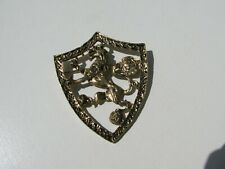 Vintage Antiqued Brass Tone Metal Vintage Crest Lion Maltese Brooch