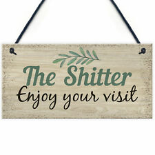 Shabby Chic Welcome Bathroom Sign Funny Hanging Wall Door Plaque Friendship Gift