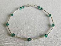 Emerald Green Swarovski Crystals & Sterling Silver Tubes Handmade Bracelet
