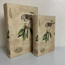 Decorative Faux Hardcover Book Box Set Secret Storage Vintage Look  Bird & Nest