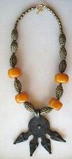 Ethnic Design Necklace/Gan Bronze Serpant Pendant/African Amber, Bronze Beads