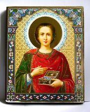 Icona SANTO Pantaleon LEGNO PIASTRA икона Святой пантелеймон освящена 12x10x2 см