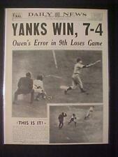 Vintage Journal Headline~ New York Yankees Baseball Équipe Win Beat Dodgers 1941