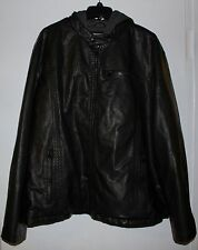 New Men's Levi's Faux-Leather Jacket with Hood - Size: 3XL - in Black