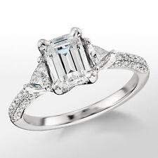 1.91 Ct. Three Stone Emerald Cut Diamond Engagement Ring 14k I, VS1 Natural