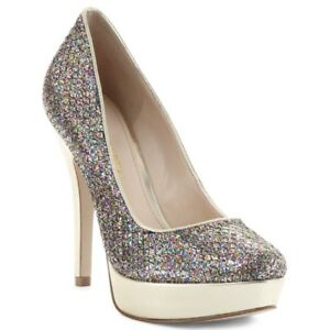 Enzo Angiolini 'Smiles' Silver Sparkly Glitter Pumps High Heels Shoes  7.5 M