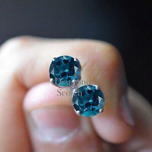 London Blue Topaz Cut  4.00Ct 14K White Gold Over Solitaire Basket Stud Earrings
