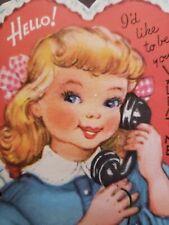 Vtg Gibson Valentine Greeting Card Diecut Cute Girl On Telephone,HELLO! 40S-50S