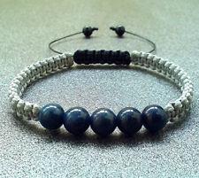 mens bracelet LAPIS ONYX stone shamballa beaded wristband men gift cuff braided