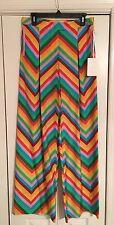Valentino Garavani 1973 Resort 2015 Rainbow Chevron 100% Silk Pants $2490 NWT 4