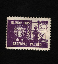 Opc Vintage Illinois Elks Aid to Cerebral Palsied Charity Stamp Mnh
