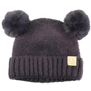 CC Kids Fleeced Lined Ages 2-5 Soft Thick 2ear PomPom Knit Beanie Ski Cap