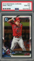Mike Trout Los Angeles Angels 2018 Bowman Chrome Baseball Card #37 Graded PSA 10