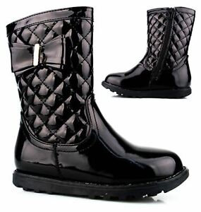 Infant Girls Kids Hi Shine Patent Quilted Mid Calf Biker Zip Ankle Boots Shoes