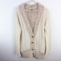 Free People Small Tan Cardigan Sweater Cream Wool Blend Button Front S
