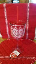 "NWT Hallmark Wine Chiller Plastic Straw Cup Valentine's Day ""Cheers To Us!XOXO"""