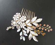 Opal Gold Silver Leaf Bouquet Hair Comb Bridal Baroque Flower Vine Rose Gold 383