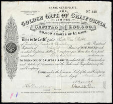 Golden Gate of California Ltd., £1 shares, 1894