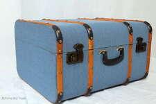 """Vintage! Koffer Oldtimerkoffer Holzkoffer Blau Holzleisten 4 Größen """"L"""" Antikque"""