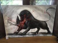 Tableau huile sur toile «le taureau» avec reliefs et signature (tableau neuf)