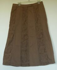Marks & Spencer Per Una Brown Long Paneled Cotton Twill Skirt UK 14 Long US 12