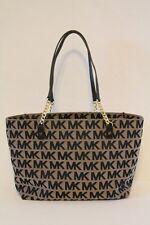 NWOT Michael Kors Jet Set Chain Tote Shoulder Bag Jacquard Leather Black Tan