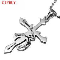 12 Sternzeichen Anhänger Halskette Unisex Edelstahl Konstellation Birthday Gift