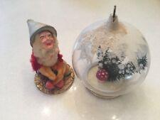 VINTAGE German Elf Paper Mache & Snow Covered Mushroom Christmas Ball Lot