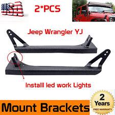 """For 1987-95 Jeep Wrangler YJ Steel A-Pillar Mount Brackets for 52""""LED Light Bar"""