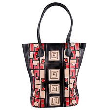 Painted Leather Shopper India Shantiniketan Tote Bag Bohemian Hippie Geometric