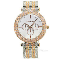 BEBE Womens Two-Tone Silver & Rose Gold Analog Watch, Glitz Crystals, Link Band
