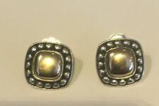JAMES AVERY RETIRED 14K & 925 Square Dot Dome earrings