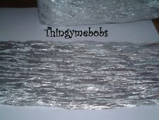 1m x 15cm SILVER CRINKLE/WRINKLE FABRIC - CRAFTS/TABLE RUNNER/WEDDING/VALENTINES