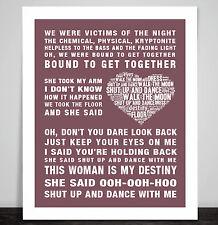 Walk The Moon Shut Up and Dance Music Love song lyrics Word Art Print Poster