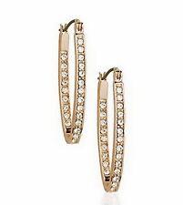 18k Rose Gold Filled Made with Swarovski Crystals Huggies Hoop Earring IE119