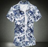 Summer Men's Slim Big Size Short Sleeve Shirts Print Floral Casual Shirts Tops