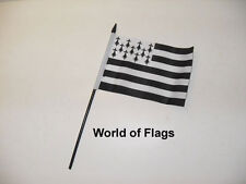 """BRITTANY SMALL HAND WAVING FLAG 6"""" x 4"""" Breton France Crafts Table Desk Display"""