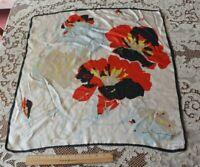 "Vintage Screen Printed Floral Silk Scarf c1950-1960~26"" Square"