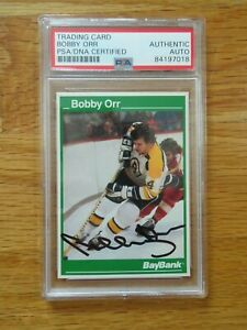 Bay Bank BOBBY ORR signed BOSTON BRUINS Career Statistics Card #3 PSA 84197018