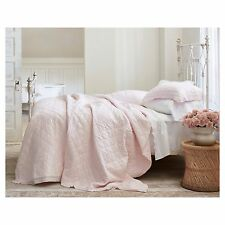 Simply Shabby Chic 3pc Linen Blend Pink Crochet Lace Trim Quilt Set - Full/Queen