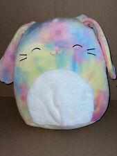 "Squishmallow Candy  12"" Rainbow tie dye Bunny 2021"
